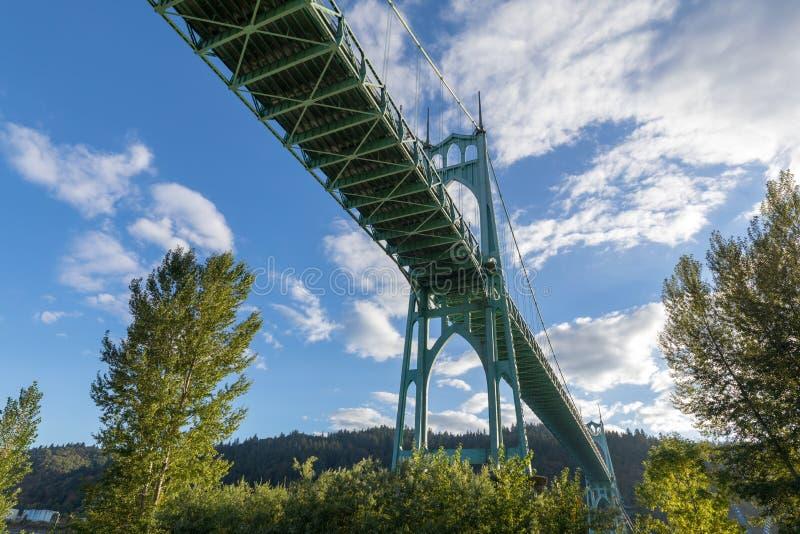 St Johns Bridge in Portland Oregon. Over Willamette River stock images