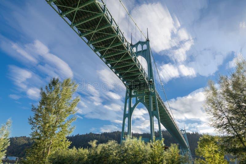 St Johns Bridge in Portland Oregon. Over Willamette River stock photography