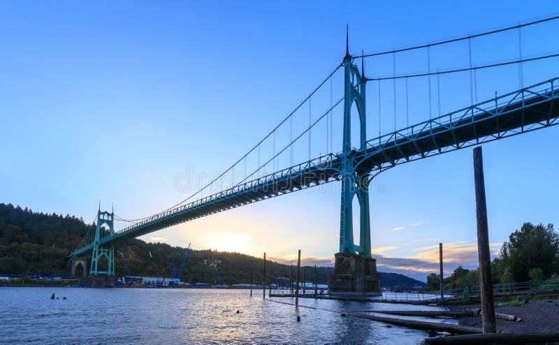 St Johns Bridge in Portland Oregon. Over Willamette River stock photo
