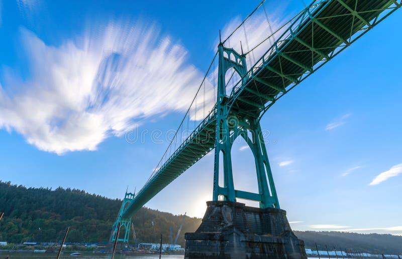 St Johns Bridge in Portland Oregon. Over Willamette River royalty free stock photo