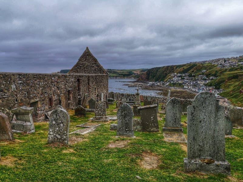 St. Johns churchyard. St johns church. Gamrie royalty free stock photo