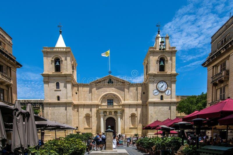 St Johns Co Cathedral in Valletta, Malta stock foto's
