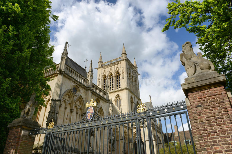 St Johns College Chapel as seen from Outside Fence. Low Angle View of St Johns College Chapel Tower as seen from Outside Fence, University of Cambridge, England royalty free stock image