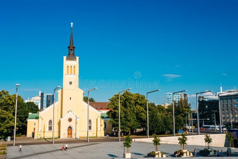 St Johns kyrka Jaani Krik, Neogothic stil, 1860 royaltyfri foto