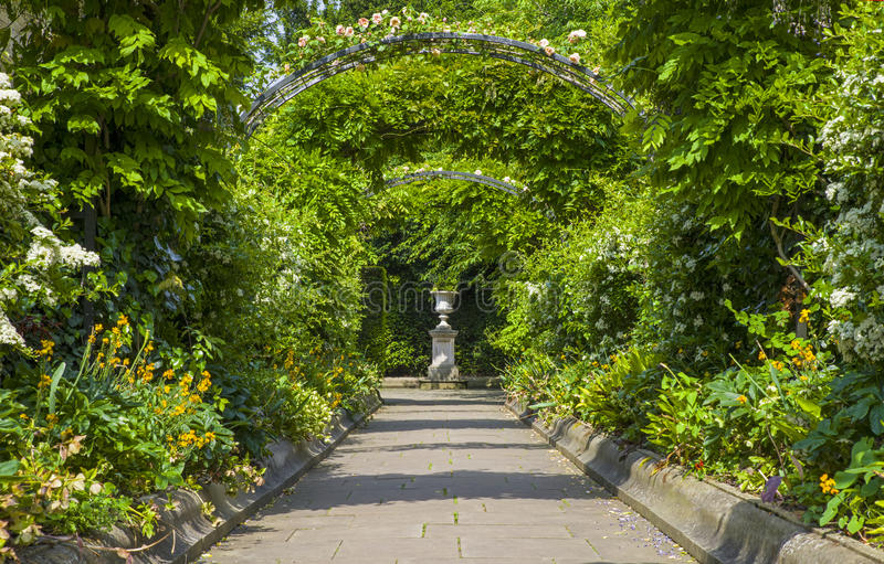 St. Johns Lodge Garden in Regents Park. A view inside the beautiful St. Johns Lodge Garden in Regents Park, London royalty free stock image