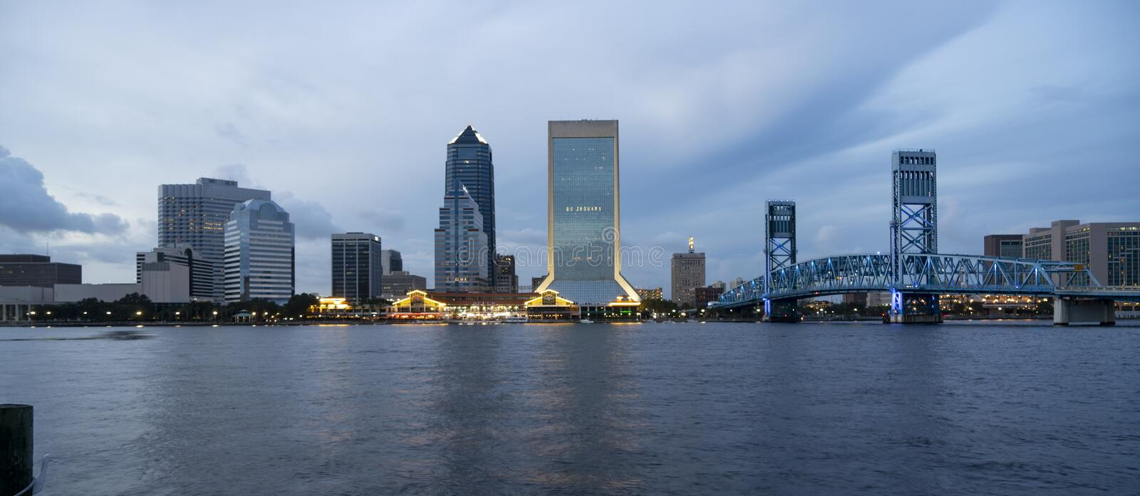 Blue Color Dominates this View of Downtown City Skyline Jacksonville royalty free stock photo