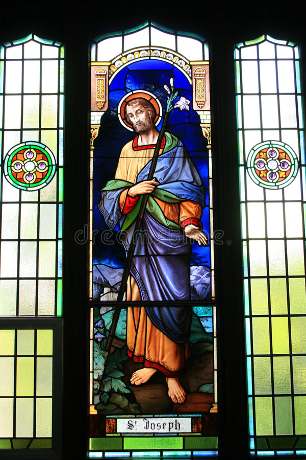 St Joseph. This church's stained glass window depicts St Joseph royalty free stock photo