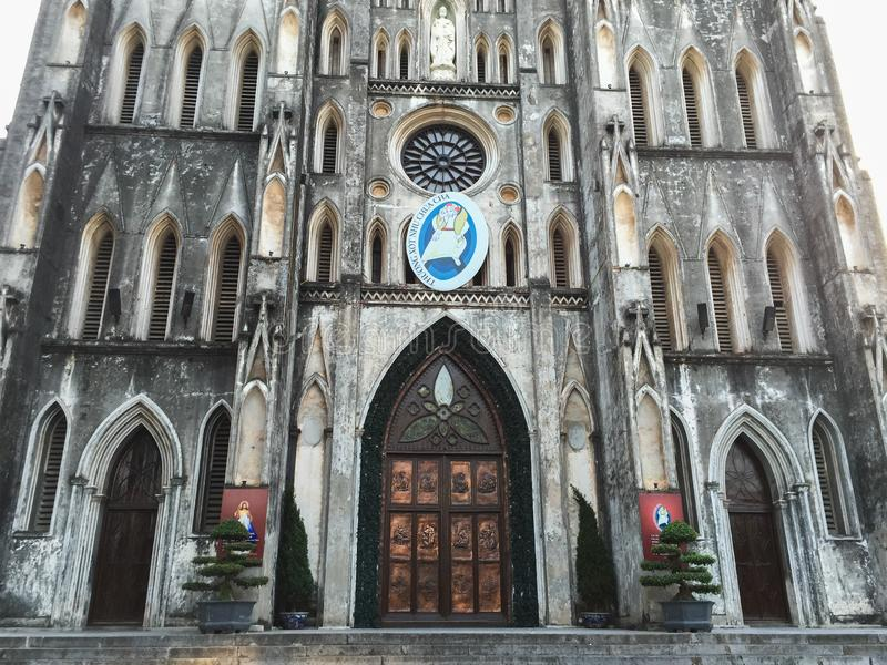 St Joseph Cathedral em Hanoi, Vietname imagens de stock royalty free