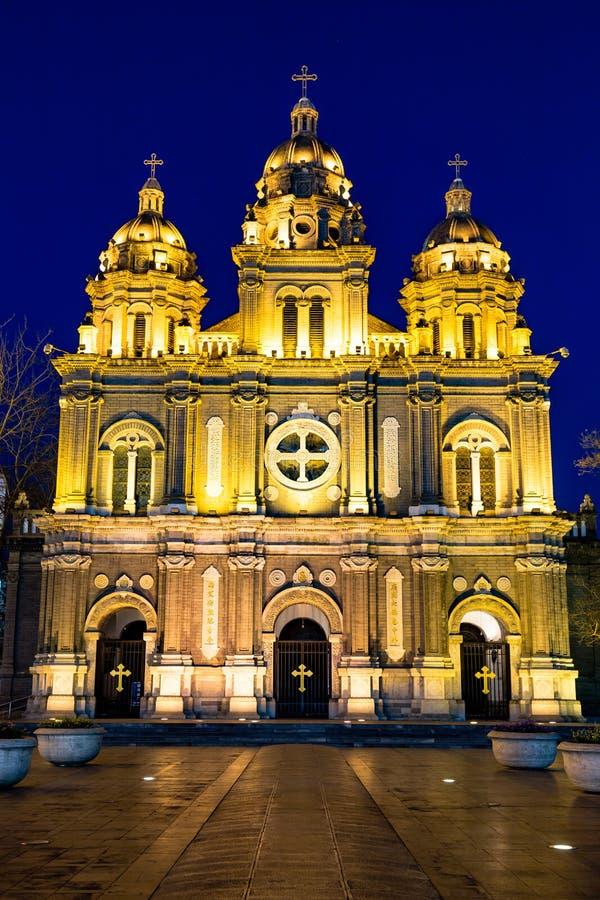 St Joseph Cathedral na noite, Pequim foto de stock royalty free