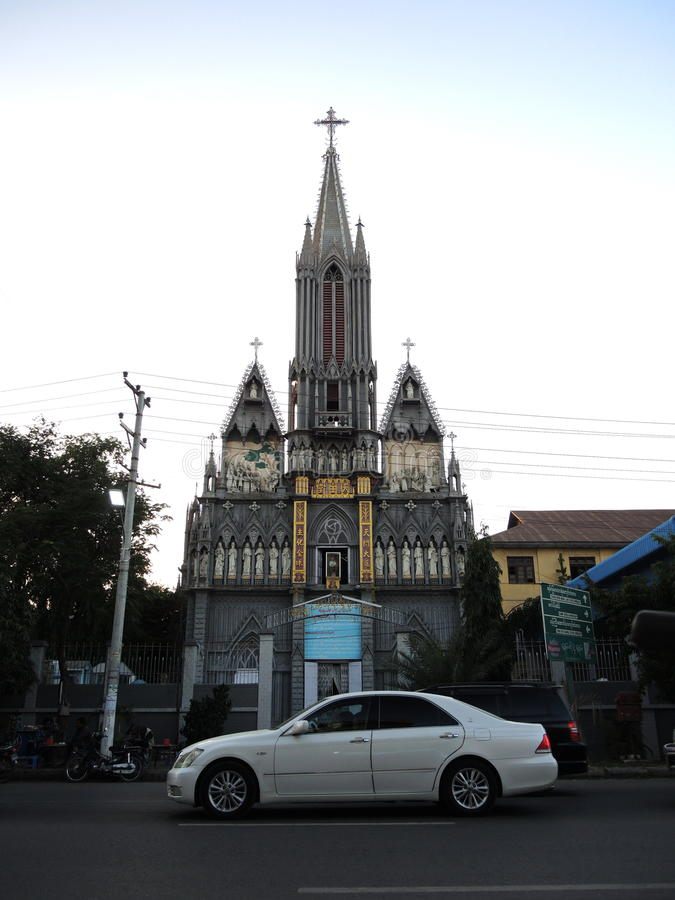 St. Joseph church in Mandalay. Front of Saint Joseph church with many biblical statuettes. Mandalay, Burma, Myanmar royalty free stock photography