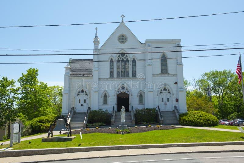 St. Joseph Church, Medway, Massachusetts, USA. St. Joseph Parish Church on Village Street in Medway historic town center in summer, Medway, Boston Metro West stock image