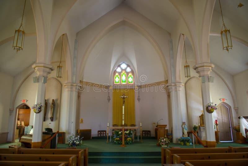 St. Joseph Church, Medway, Massachusetts, USA. St. Joseph Parish Church on Village Street in Medway historic town center in summer, Medway, Boston Metro West stock photo