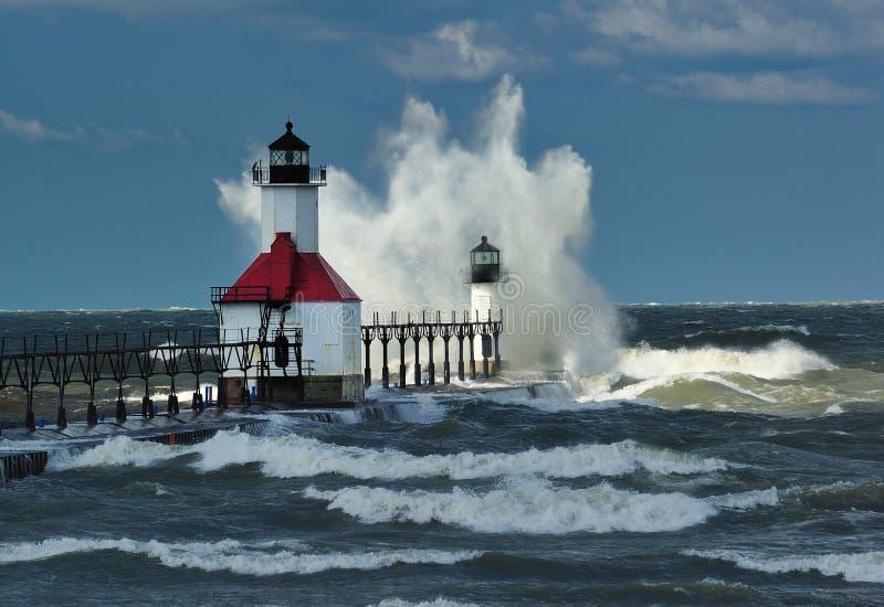 St. Joseph Lighthouse Storm, Michigan USA stock photo