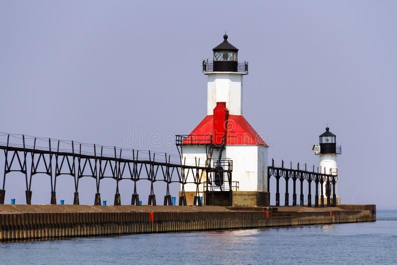 St. Joseph, Michigan North Pier Lights royalty free stock images