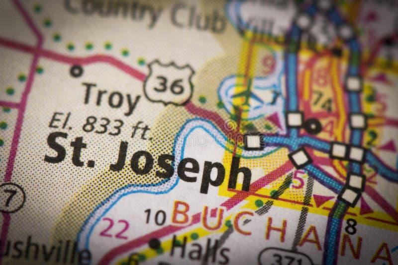 St Joseph, Missouri na mapie zdjęcia stock