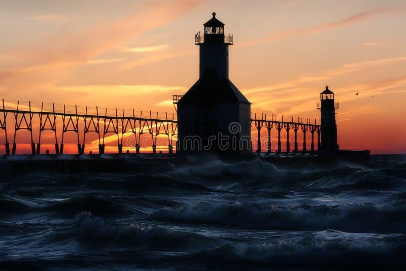 St. Joseph North Pier Lights Royalty-vrije Stock Afbeeldingen