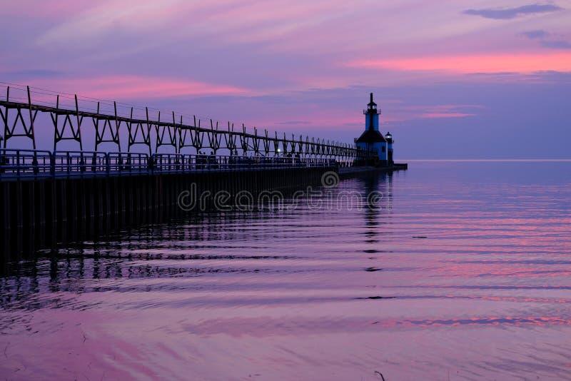 St. Joseph North Pier Lights, built in 1906-1907. Lake Michigan, MI, USA stock photography