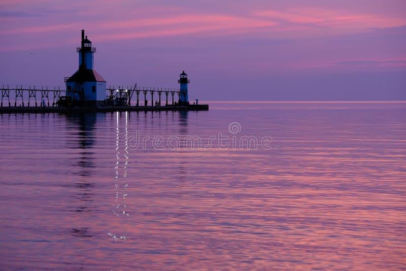 St. Joseph North Pier Lights, built in 1906-1907. Lake Michigan, MI, USA stock image