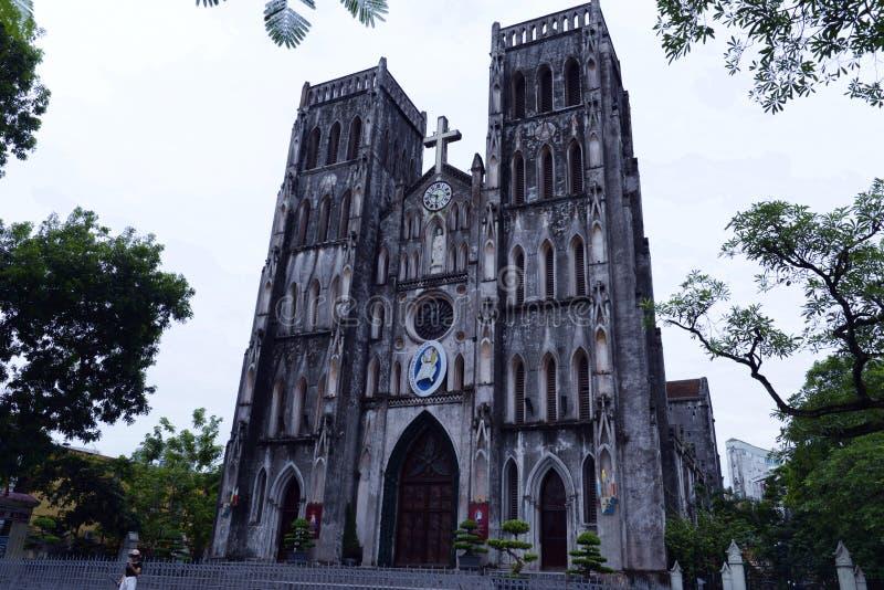 St Joseph ` s Katholieke Kathedraal, Hanoi, Vietnam stock foto