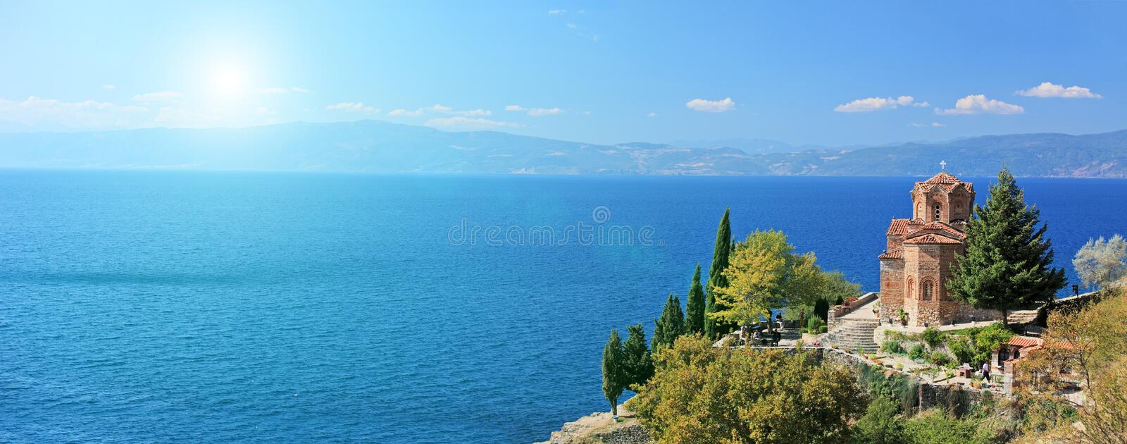 St. Jovan Kaneo church overlooking Ohrid lake, Macedonia on a sunny day. View of a St. Jovan Kaneo church overlooking Ohrid lake, Macedonia on a sunny day royalty free stock photo