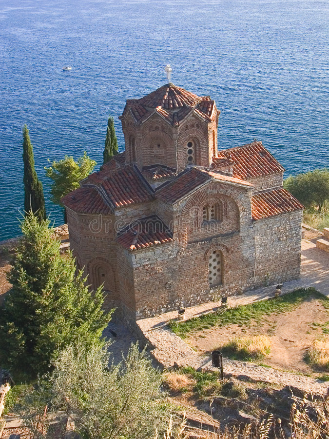 St Kaneo della chiesa ortodossa, vicino al lago Ohrid immagine stock libera da diritti