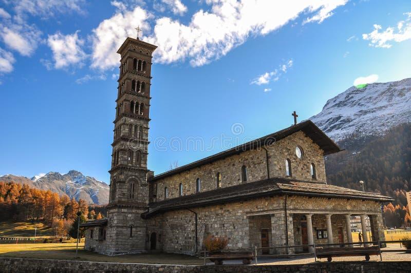 St. Karl Church em St.Moritz-Bad em Suíça fotos de stock royalty free