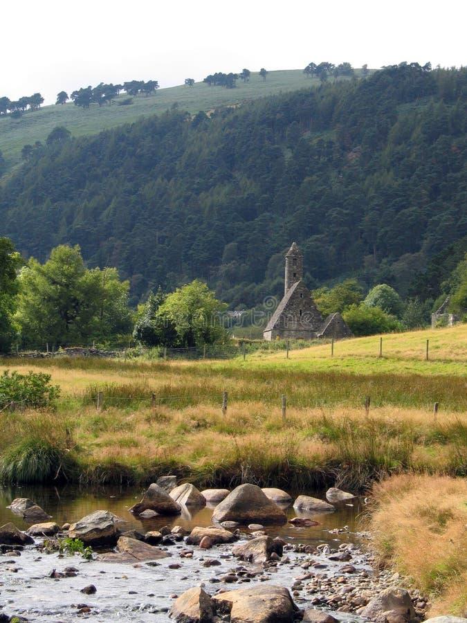 St. Kevin Kapel in Glendalough stock foto's