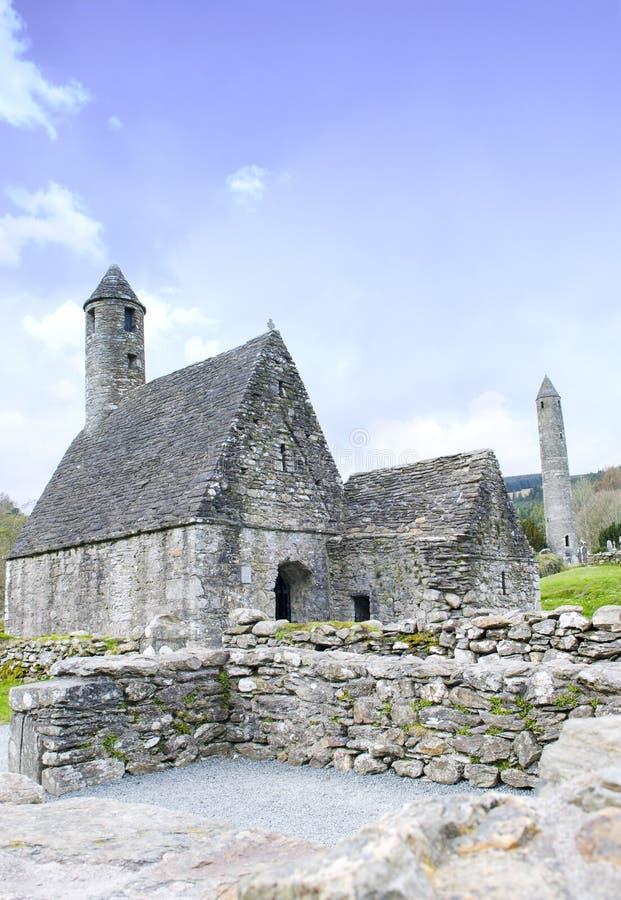 St Kevins monaster, Glendalough, okręg administracyjny Wicklow, Irlandia obraz stock