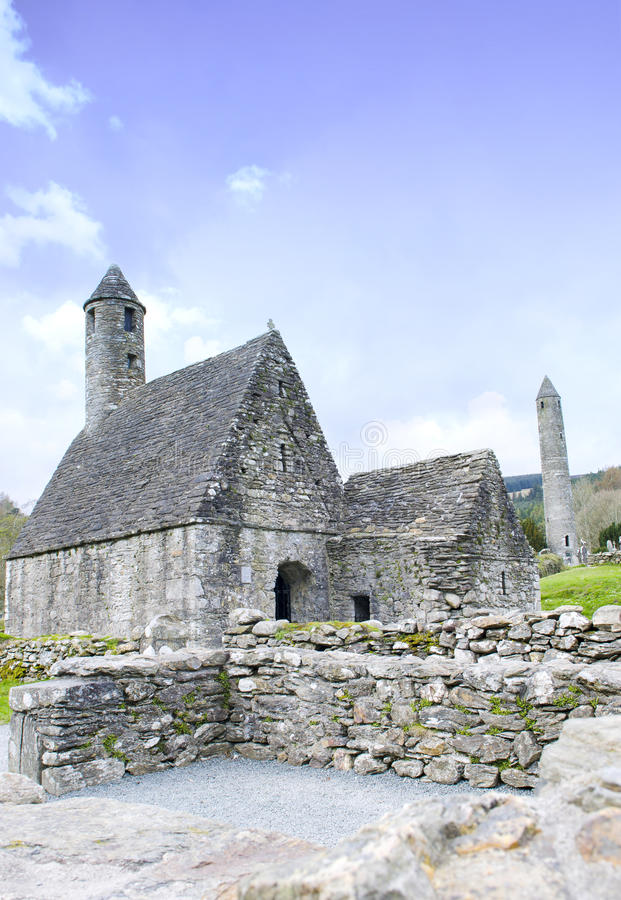 St. Kevins Monastery, Glendalough, County Wicklow, Ireland stock image