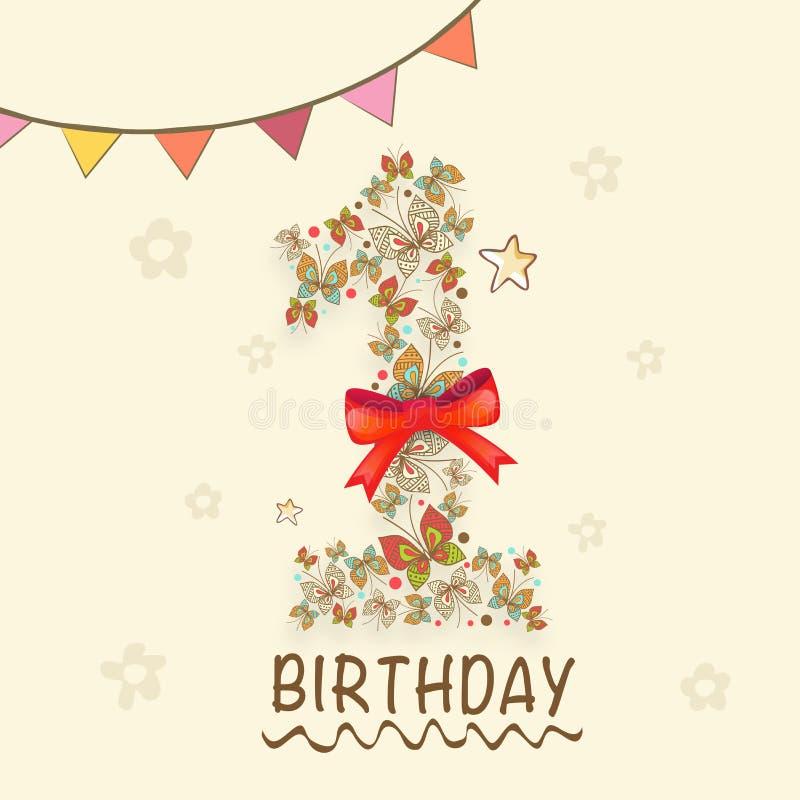 1st Kids Birthday Invitation Card. Stock Illustration - Illustration ...