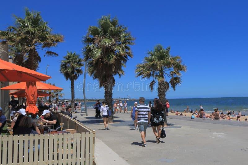 St Kilda海滩墨尔本澳大利亚 库存图片