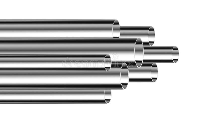 St?l- eller aluminiumr?r stock illustrationer