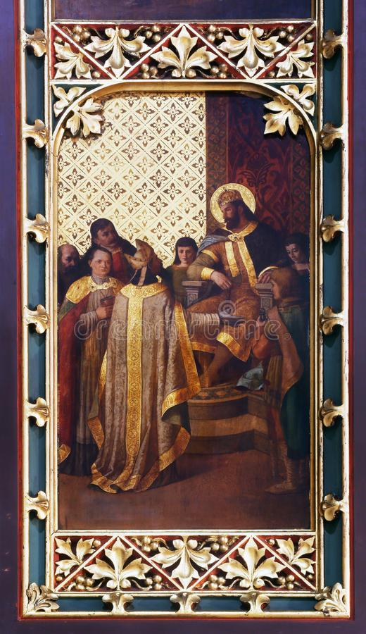 St. Ladislaus sendet den ersten Bischof von Zagreb stockbilder
