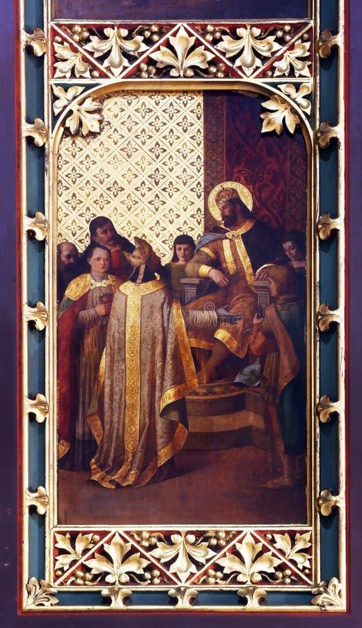 St. Ladislaus sendet den ersten Bischof von Zagreb lizenzfreies stockbild