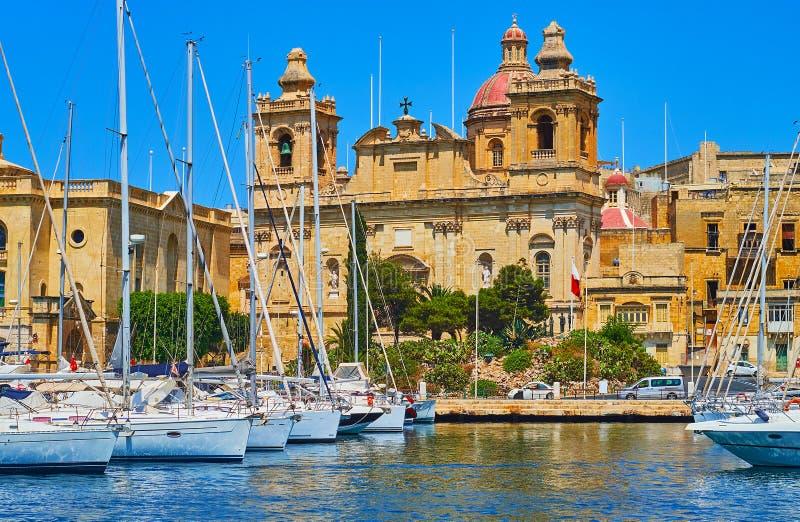 St Lawrence kerk van het overzees, Birgu, Malta stock foto's