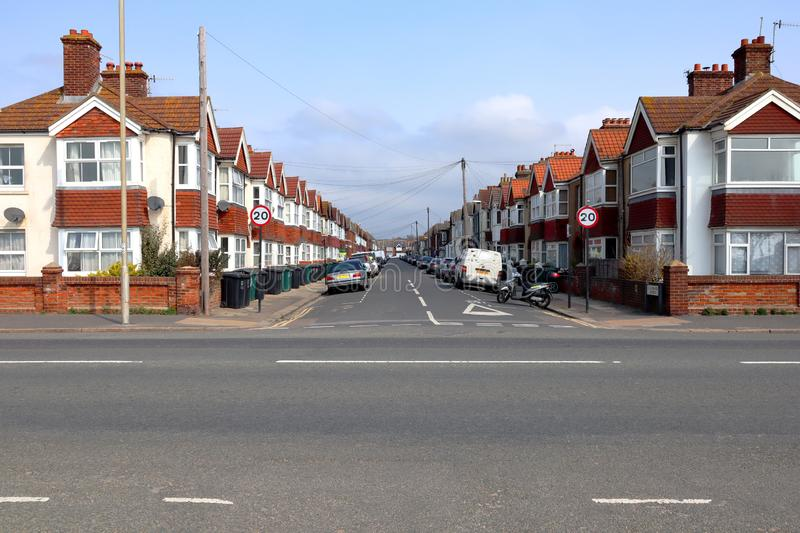 St Leonards Avenue in Hove, East Sussex. The St Leonards Avenue, a street in Hove, Sussex, England, full of tightly packed terraced houses royalty free stock photography
