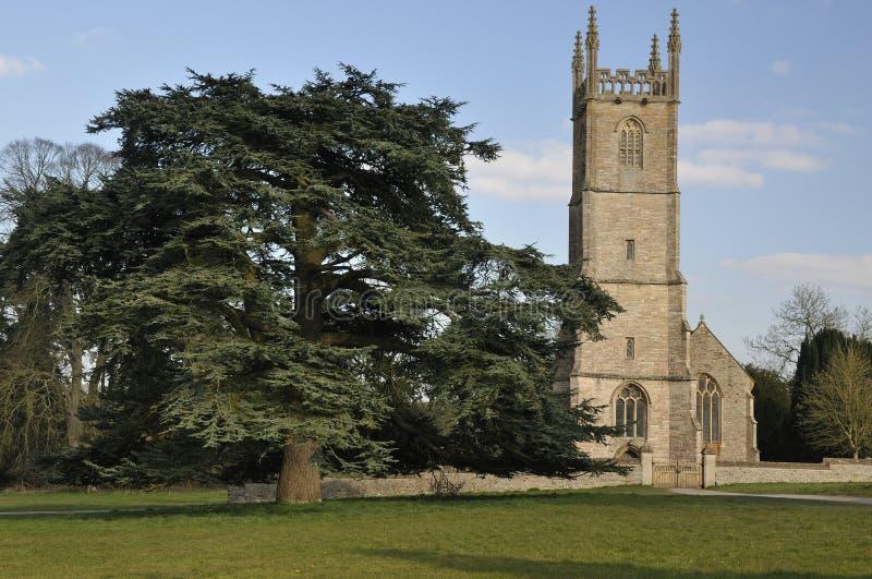 St. Leonards Church. Tortworth, Gloucestershire With Cedar of Lebanon Tree royalty free stock photography