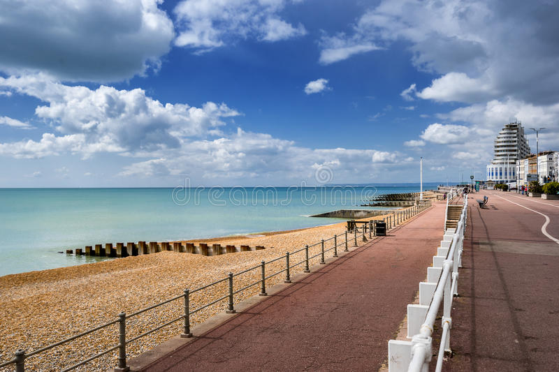 St Leonards on sea in Sussex. Looking down the Grand Parade from Hastings to St Leonards royalty free stock images
