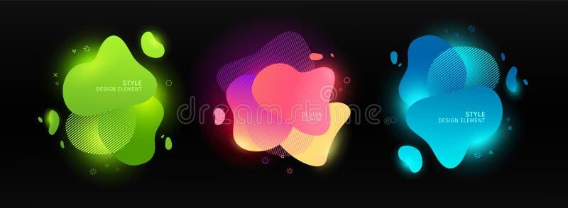 St?ll in av abstrakta moderna grafiska best?ndsdelar Dynamisk f?rgformer och linje Abstrakt baner f?r lutningneon med ljust fl?da royaltyfri illustrationer