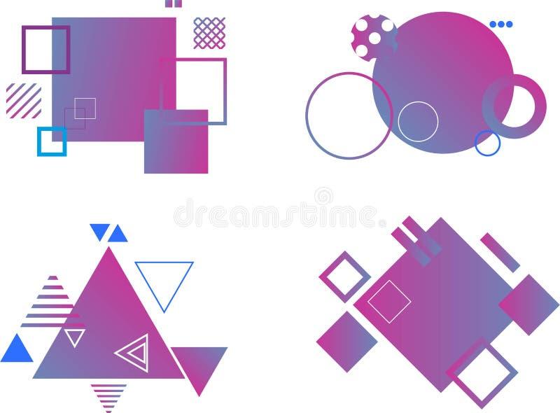 St?ll in av abstrakta moderna grafiska best?ndsdelar Dynamisk kul?r former och linje Abstrakta baner f?r lutning med former f?r f stock illustrationer