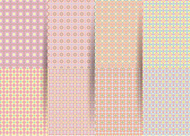 St?ll in av 6 abstrakta s?ml?sa rutiga geometriska modeller Rosa geometrisk ackground för vektor för tyger, tryck, barns kläder vektor illustrationer