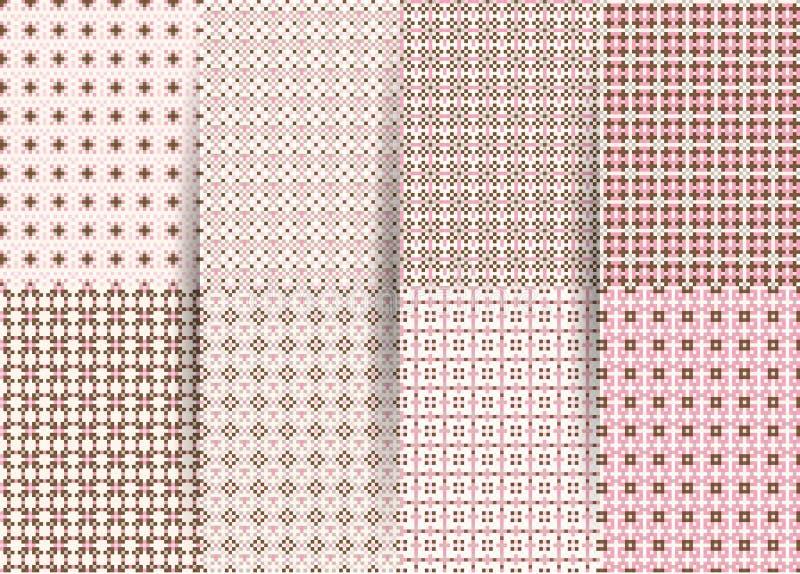 St?ll in av 6 abstrakta s?ml?sa rutiga geometriska modeller Rosa geometrisk ackground f?r vektor f?r tyger, tryck, barns kl?der royaltyfri foto
