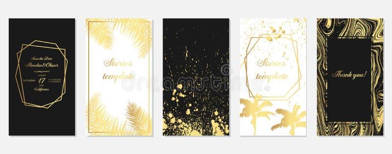St?ll in av ber?ttelserammallar med guld- palmtr?dsidor St?ll in av tropiska mallar Ber?ttelsemall Designbakgrunder f?r stock illustrationer
