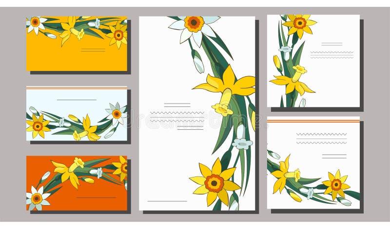 St?ll in av blom- v?rmallar med gulliga grupper av vita och gula p?skliljor Aff?rskort med pingstliljan f?r vektor illustrationer
