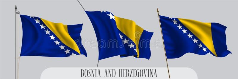 St?ll in av Bosnien och Hercegovina den vinkande flaggan p? isolerad bakgrundsvektorillustration vektor illustrationer