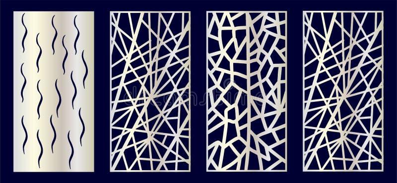 St?ll in av dekorativ laser klipper paneler med monsteraen, flamingo, palmtr?d stock illustrationer