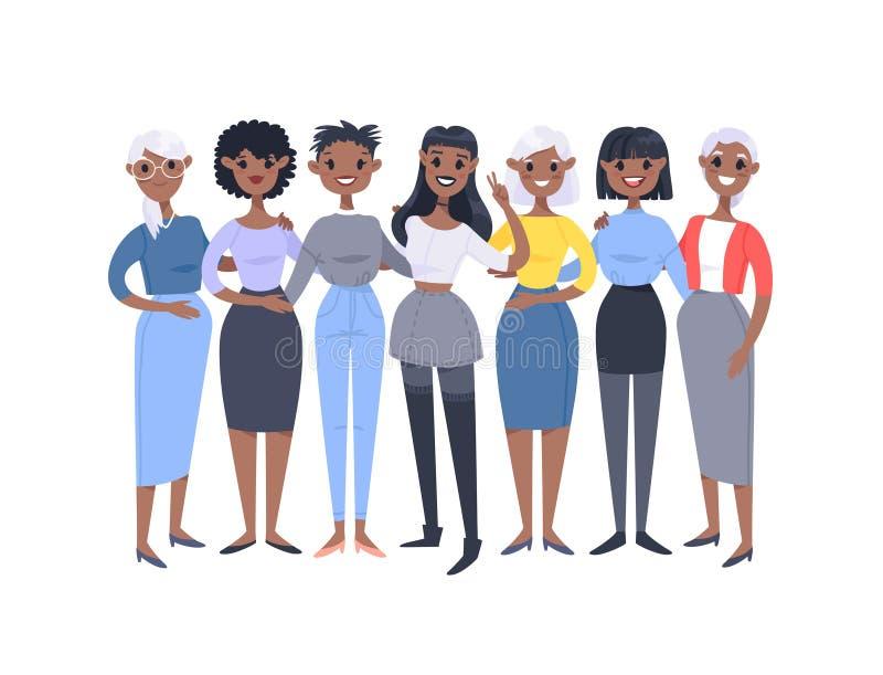 St?ll in av en grupp av olika afrikansk amerikankvinnor Tecknad filmstiltecken av olika ?ldrar Vektorillustrationfolk vektor illustrationer