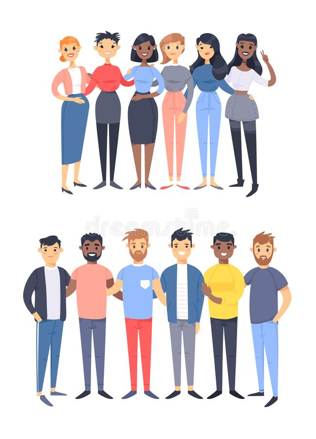 St?ll in av en grupp av olika m?n och kvinnor Tecknad filmstiltecken av olika lopp, genus Vektorillustrationcaucasian, stock illustrationer