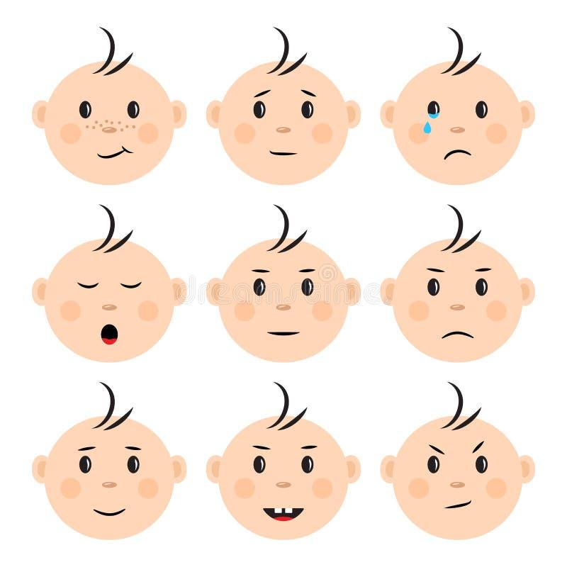 St?ll in av framsidor behandla som ett barn med olika sinnesr?relser vektor vektor illustrationer