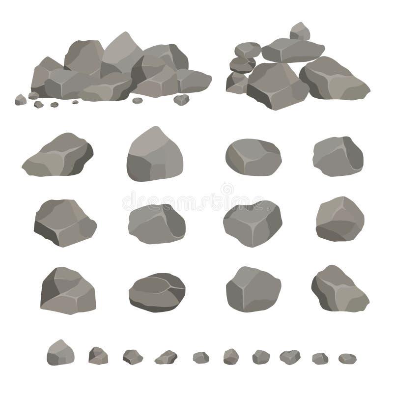 St?ll in av gr?a granitstenar av olika former Best?ndsdelen av naturen, berg, vaggar, grottor Mineraler, stenblock och kullersten vektor illustrationer
